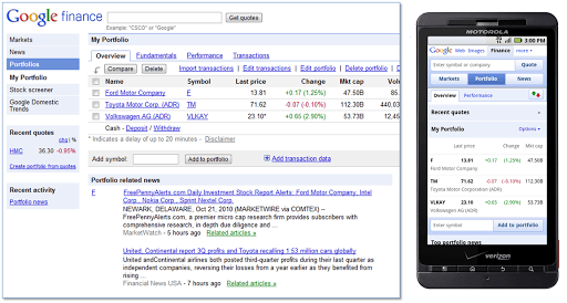 Now available with Google Apps: Google Finance